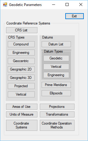 The Geodetic Parameters Form